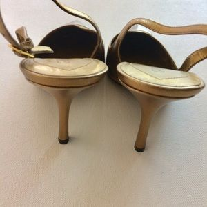 Guess Shoes - Guess Gold And Silver Toe Slingback Heels Size 7M